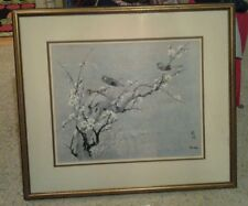 Rare Signed Chin Weng Chinese artist birds and blossoms series Matted & Framed