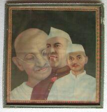 Vintage Mahatma Gandhi Jawaharlal Nehru & Lal Bahadur Shastri Print Photo Framed