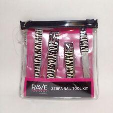 Rave For Nails Zebra Nail Kit - Tweezer, Toenail Nail Clipper, Nail File, Pouch