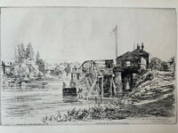 Arthur Evershed Gravure Eau Forte Etching On The Banks Of The Thames Londres