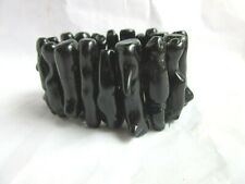 coral stretch bracelet Shiney Black acrylic faux