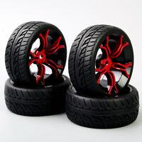 4x 1:10 12mm Hex RubberTyre&Wheel Rim MPNKR+PP0150 For HSP HPI On-Road Car