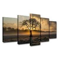 5Pcs Set Tree Sunset Canvas Print Painting Wall Art Picture Home Decor