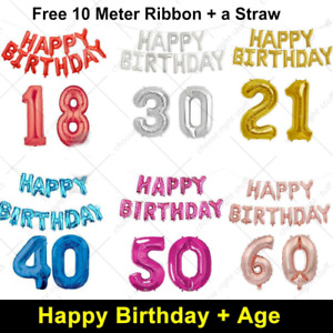 "16"" Happy Birthday + 30"" Age Number Foil Balloons Self-inflating Banner Baloons"