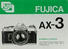FUJICA AX-3 SLR 35mm CAMERA OWNERS INSTRUCTION MANUAL -FUJICA AX3