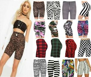 Ladies Womens Printed Leopard Army Dance Sports Biker Cycling Active Gym Shorts