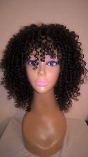 "12"" 6A Brazilian Virgin #1B 150% Density Short Curly Glueless Full Lace Wig"