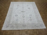 8'3 x 9'8 Hand Knotted Ivory Gray Turkish Bamboo Silk Oushak Oriental Rug G8167
