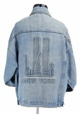 RARE.... Vintage 1996 New York TWIN TOWERS Embossed Blue Jean Jacket Large USA