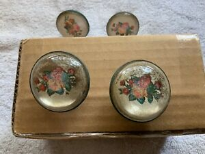 Set of 4 Victorian Glass Flowers Picture Nail Covers Matching White Bouquets