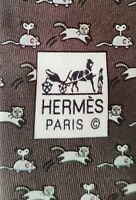 NWT 100% Auth HERMES TIE Silk Necktie Mens Brown Cat and Mouse Pattern 5611