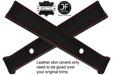 RED STITCH 2X A PILLAR LEATHER COVERS FITS LAND ROVER DEFENDER 110 CSW 83-17
