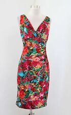 Lauren Ralph Lauren Red Colorful Floral Ruched Wiggle Dress Size 4 Sleeveless
