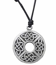 Pewter CELTIC KNOT DISC Pendant on Black Cord Necklace Nickel Free Coin