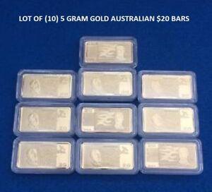 Lot of 10- 5 GRAM GOLD AUSTRALIAN $20  BULLION BARS 100 MILLLS .999 FINE