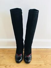 Marc Jacobs Black Suede Knee High Boots Patent Leather & Red Hearts Heels Size 7