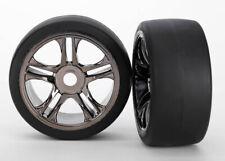 Traxxas TRA6477 Black Chrome Rear Wheels(2) 118+MPH Slicks Tires: 1/7 XO-1/X0-1