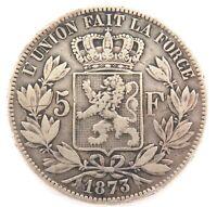 .NICE GRADE / BELGIUM 1873 5 FRANCS COIN. .900% SILVER.