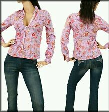 Long Sleeve Button Up Lilac Print Blouse, Medium