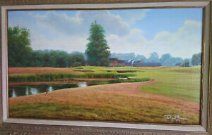 DAVID MORGAN Oil on Canvas Original Painting BOWOOD GOLF COURSE 18th Hole