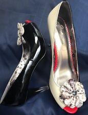 Poetic Licence Summer Bloom Patent Leather White Black Peep Toe Heel Heels 39/8M