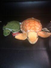 "RUSS 7"" Turtle Thomas Yomiko Classics Green Plush & 10"" Aurora Orange Turtle"