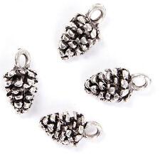 70x Hotsale Bulk Charms Pine Cone Style Antique Silver Zinc Alloy Pendents J