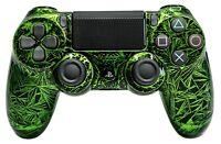 PS4 Controller original Playstation Custom Crackling Design Grün Schwarz