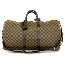 Auth Louis Vuitton Damier Keepall Bandouliere 55 Boston Travel Hand Bag /71135