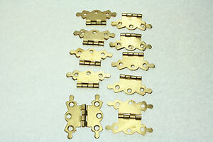 10 Butterfly Butt Hinges Cupboard, Cabinet EPS Brass Plate Finish 42mm x 35mm