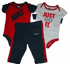 NIKE BABY INFANT BOYS RED BLUE BODYSUIT PANTS 3PC SET OUTFIT 6 9 MONTHS NEW