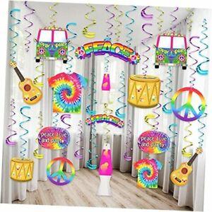 30 Pieces Tie Dye Birthday Party Supplies 60s Hippie Theme Party Favors Hippie
