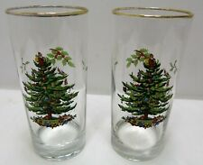 "Set of 2~Spode Christmas Tree Tumblers~6 1/4"" Tall Drinking Glasses~Gold Trim *J"