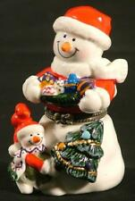 HINGED TRINKET BOX - SNOWMAN IN SANTA SUIT PORCELAIN with SURPRISE TREASURE -NEW