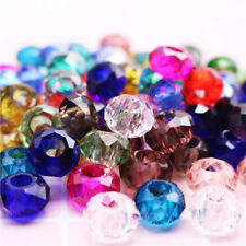 50pc Colorful Faceted Glass Crystal Beads lampwork For European Bracelet&Bangle