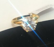KB4 2ct diamond Solitaire Engagement Ring 14k Gold on 925 sterling silver size N
