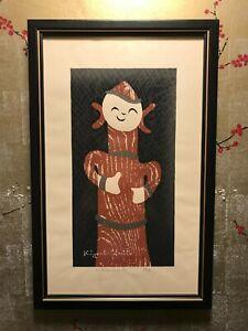 "KIYOSHI SAITO Signed Original Woodblock Print ""Haniwa (6)"" Mid Century Japan"