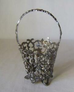 Antique Silver Plated Rococo Basket, missing glass liner, otherwise perfect
