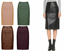 Knee Length Faux Leather Patternless Formal Skirts for Women