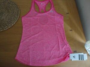 Women's Adidas Tank Vest Gym Top Shock Pink Size 4 6 8 10 New FREEPOST