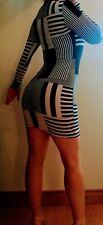 Sexy Black And White Aztec Monochromatic Gucci-Style Printed Mini Dress UK Size