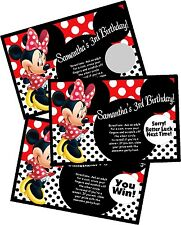 RED MINNIE MOUSE PERSONLIZED SCRATCH OFF OFFS PARTY GAME CARDS BIRTHDAY FAVORS