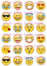 24 x i Phone i Pad emoji smiley faces Edible Icing Birthday Cake Cupcake Toppers