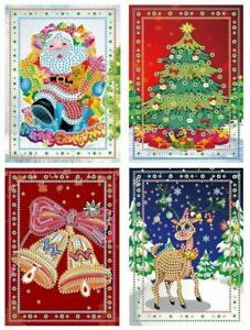 5D Diamond Painting Crystal Christmas Card Kit - Set of 4