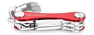 KeySmart Aluminum Compact Key Holder Organiser Pocket Size Holds 2 - 10 Keys Red