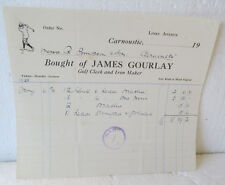 ORIGINAL VINTAGE INVOICE TO R. SIMPSON FROM JAMES GOURLAY FOR GOLF CLUBS  1925