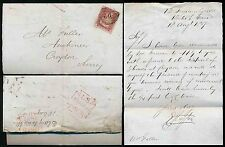 GB QV 1857 to CROYDON...LOMBARD STREET MX DATED HANDSTAMP in RED