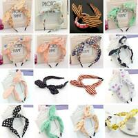 Women Headband Rabbit Ears Solid Color Bow Headband Hair Hoop Hair Band For Girl