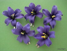 "Sm 2"" Purple Lily Silk Flower Hair Clip 5 Piece Lot, Pin Up,Updo,Bangs,Hat"