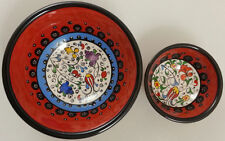 TURKISH CERAMIC BOWL SET OF 2 - Multi Size - Red - Handmade - New
